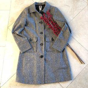 GAP Black and White Long Tweet Wool Coat Sz S